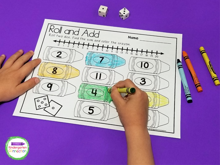 In this activity, students roll two dice, add, and color a crayon on the recording sheet with the correct sum.