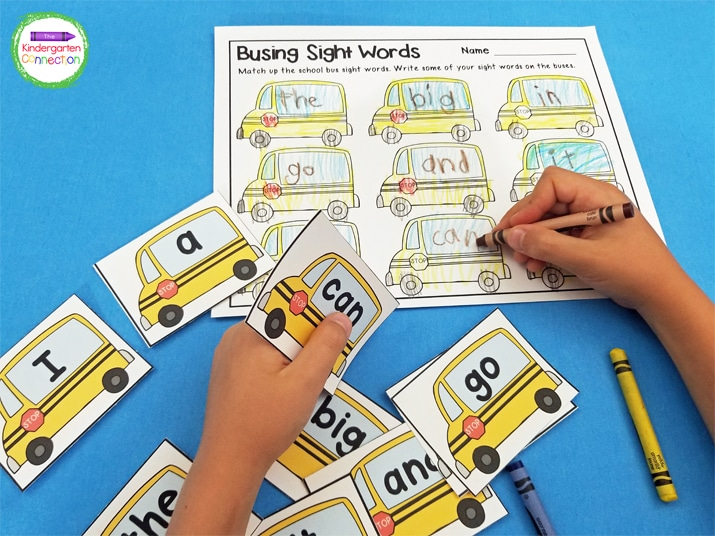 In this activity, students pick a school bus sight word card and color the matching bus on the recording sheet.