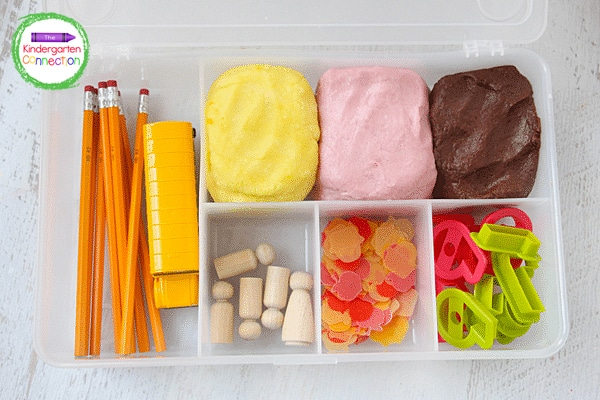 This play dough kit is easy to keep organized in a plastic tackle box or storage container.