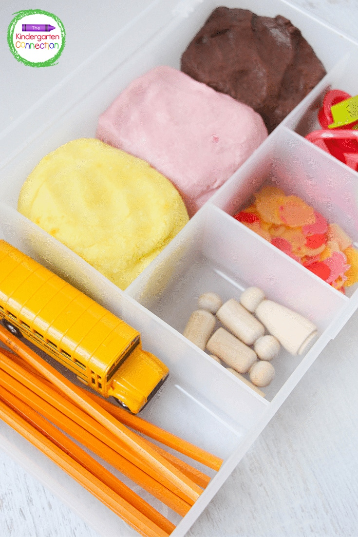 Grab some play dough and common supplies like cookie cutters and pencils to create this fun play dough kit.