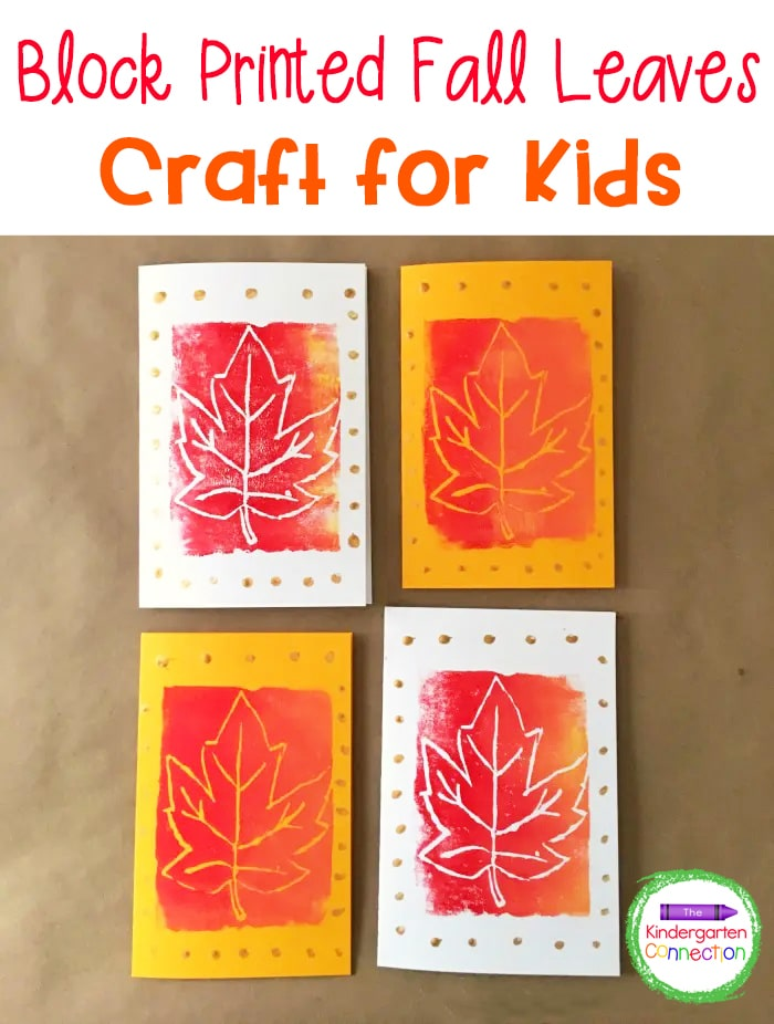 Try this unique and easy Block Printed Fall Leaves Craft for Kids! Make this beautiful fall art masterpiece in just a few simple steps!