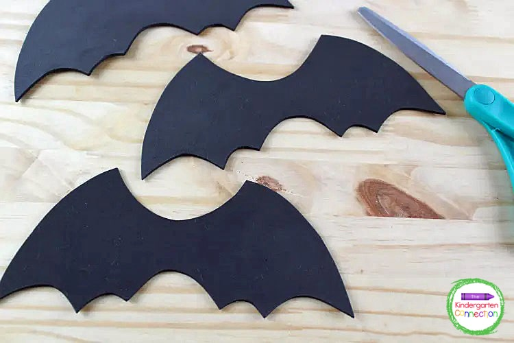 Then trace the bat wing onto black craft foam and cut that out as well.