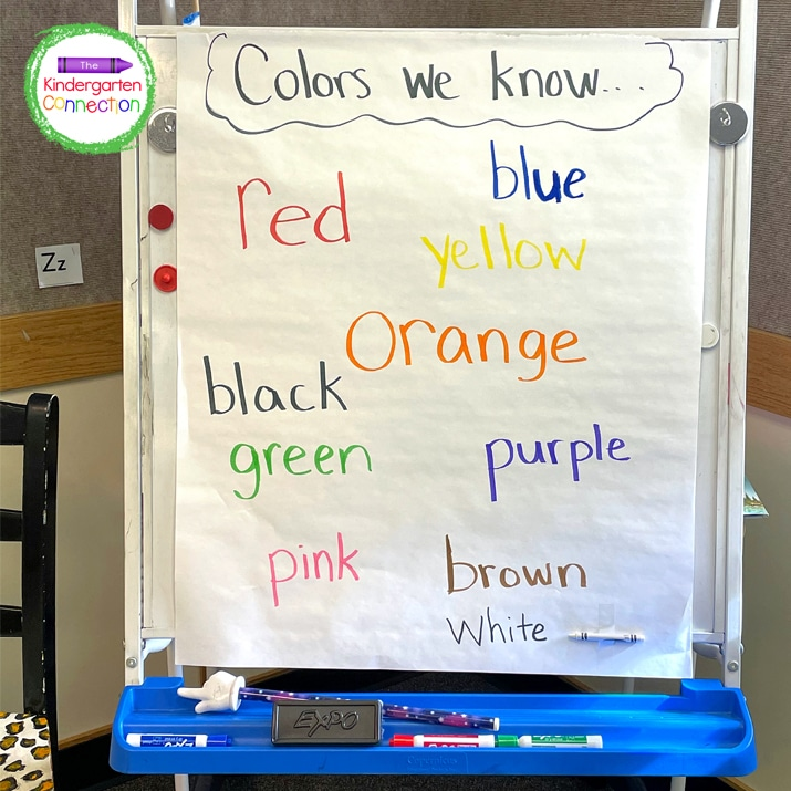 For this classroom transition idea, I pick a student in the group and point to a color word on our easel for them to read the word before they can move.