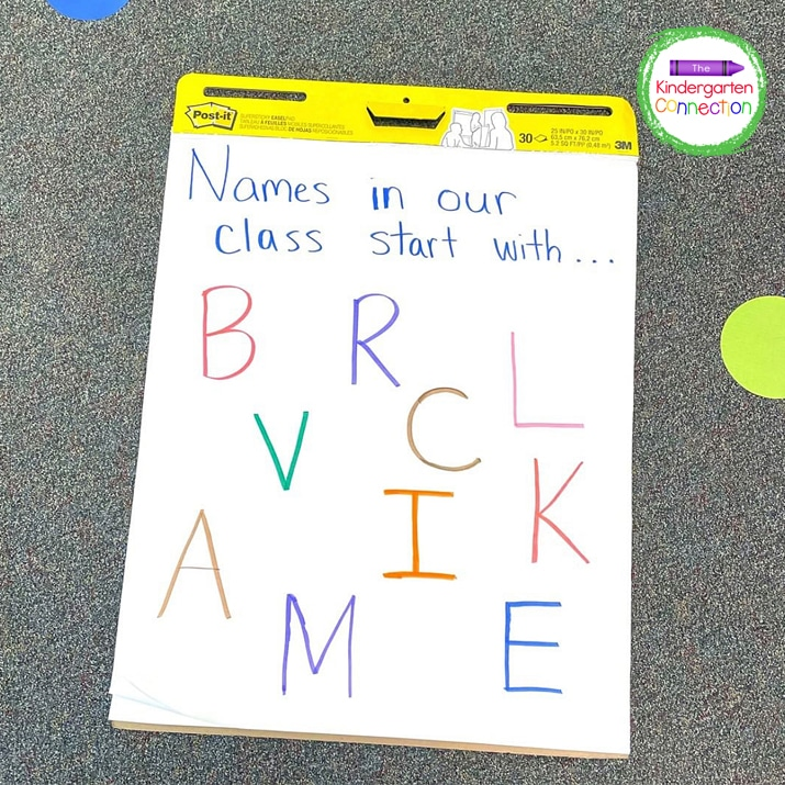 I explain that our classroom helper is going to point to a letter on our easel and if your name starts with that letter - off you can go!