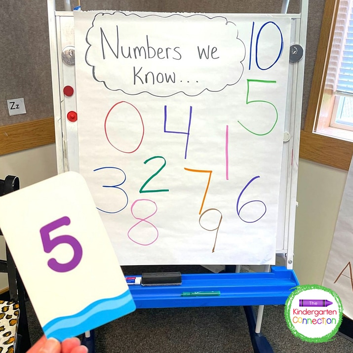 I point to a number on the chart (or the helper can) and whoever has the matching number flashcard can go!