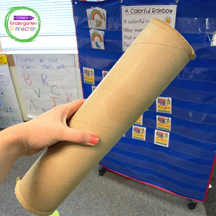 Turn a cardboard roll into a telescope to spot students that may be excused.