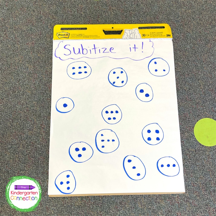In this transition idea, the student must quickly identify the number (subitize it!) before they can get up and go.