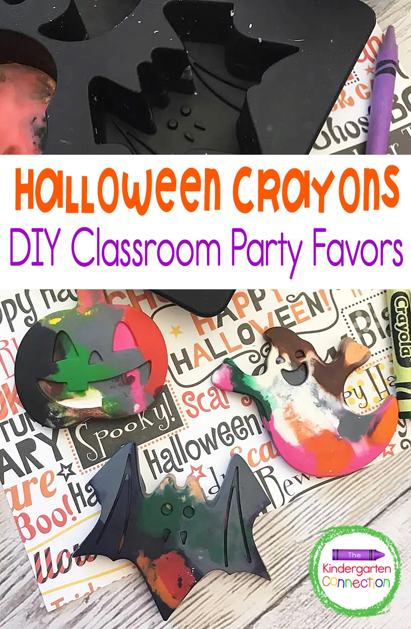Have old crayons lying around? Instead of throwing them out - recycle them into fun party favors like these Halloween melted crayons!