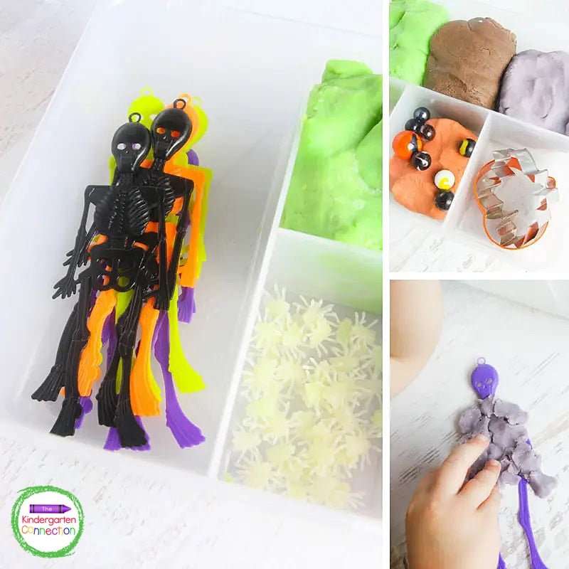 In our Halloween play dough kit we included plastic skeletons, glow in the dark flies, and fun shaped cookie cutters.