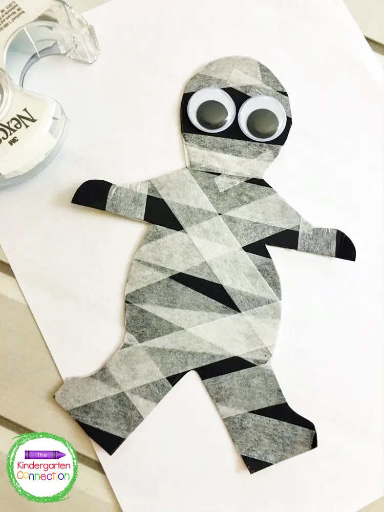 Continue this taping pattern until your mummy begins to truly look like a, well - a mummy!