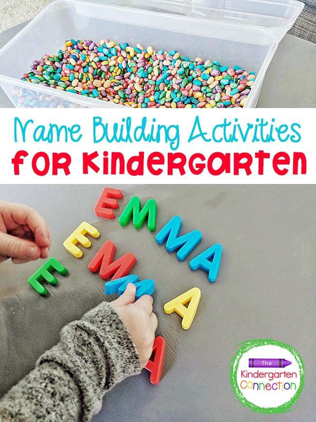 Check out these hands-on learning ideas for name spelling practice including an engaging sensory bin and fun building block activity!