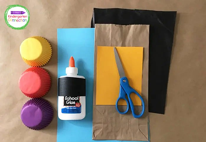 Gather your simple supplies like construction paper, cupcake liners, tissue paper, paper bags, and glue.