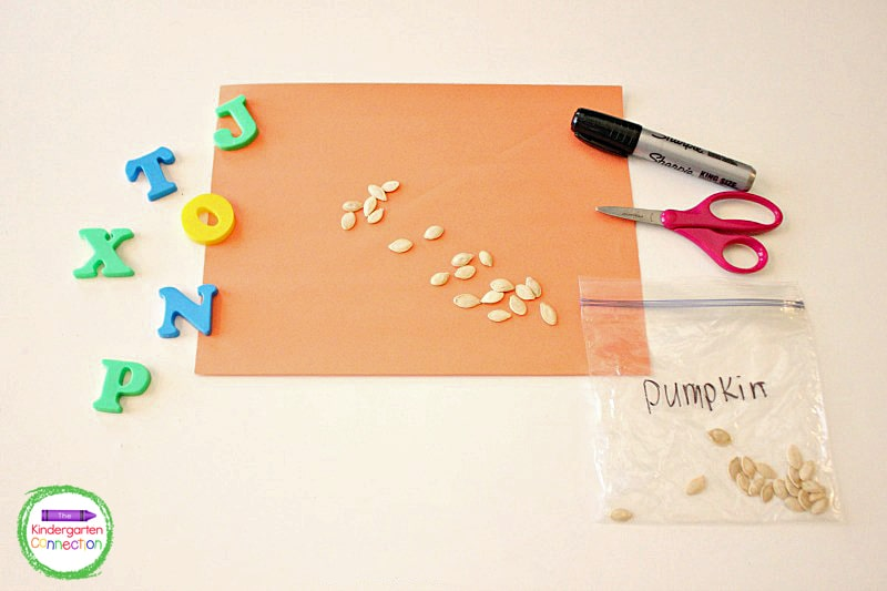 With just a few inexpensive items like construction paper and pumpkin seeds, you can make an effective ABC center activity!