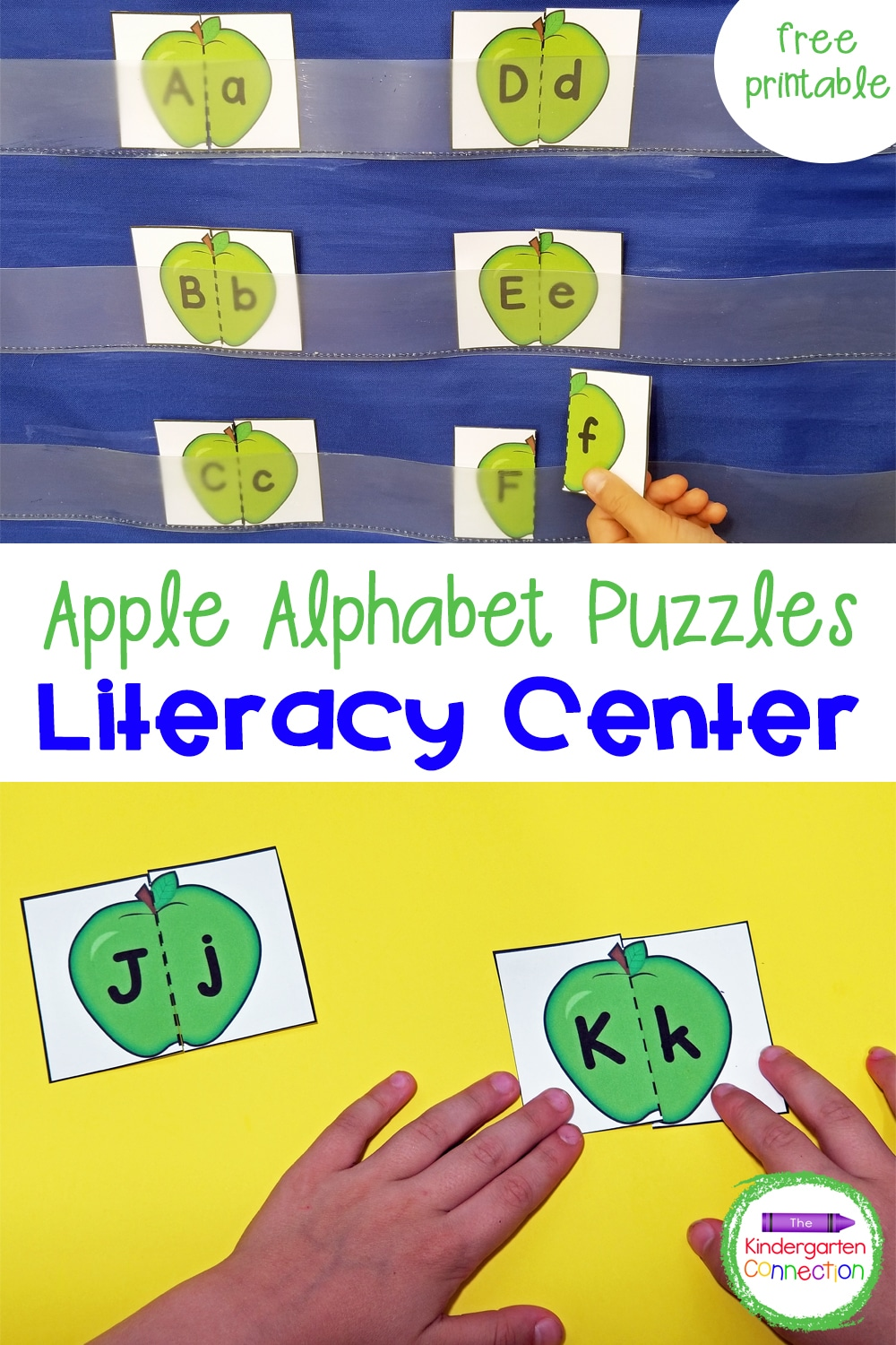 These free Apple Alphabet Puzzles are a great literacy center for preschoolers or kindergarteners to practice their ABC's this fall!