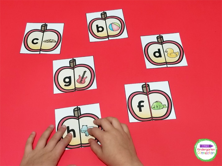 Each apple is split into two pieces with a letter and picture of a word with the matching beginning sound.