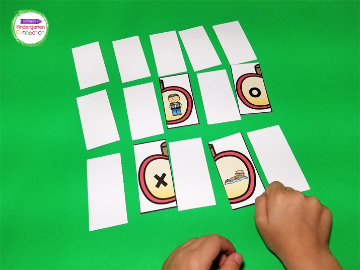 Place the cards face down and students will take turns picking up two cards and deciding if it is a match or not.