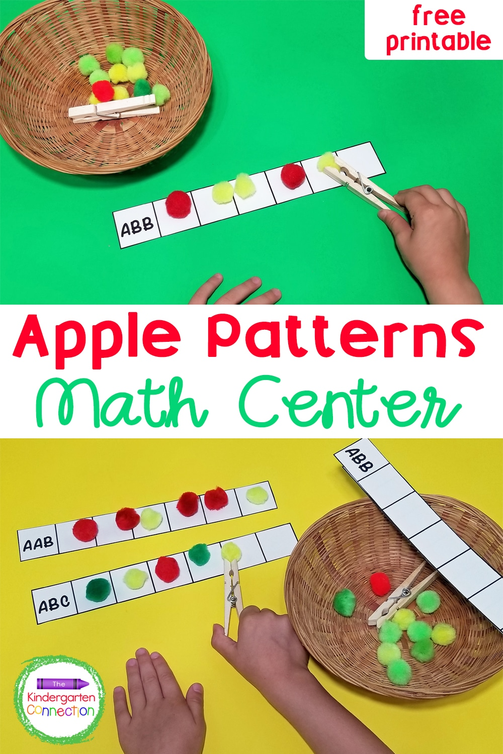 This fun and free Apple Patterns printable activity is great for working on patterning skills and fine motor development at the same time!