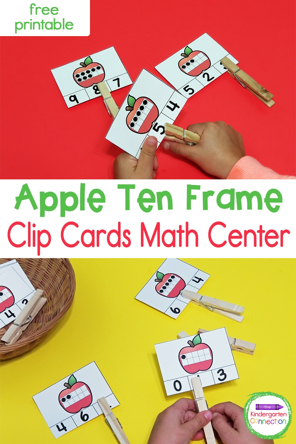 Work on fine motor and math at the same time with these free apple ten frame clip cards! Perfect for back to school!