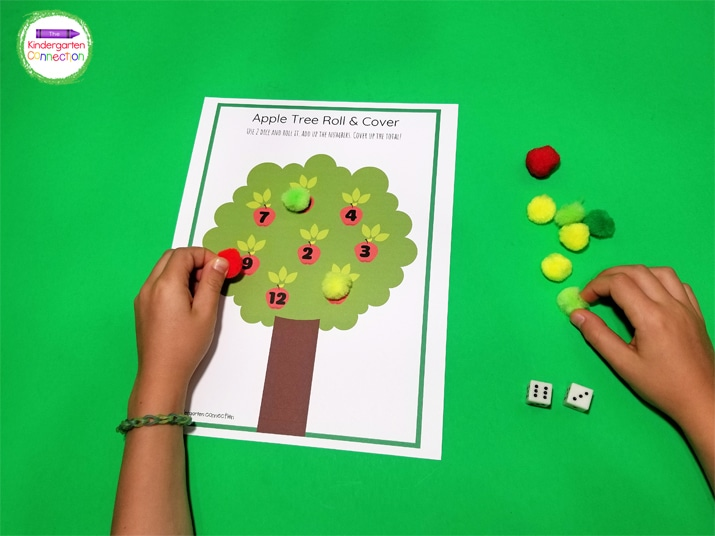 Roll both dice, count up or add the two numbers to get a total, and check to see if you have that number on your tree. If you do, cover it up!
