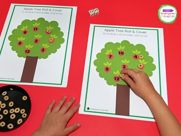 For this roll and cover math game, print and laminate the board and grab some dice and small manipulatives.