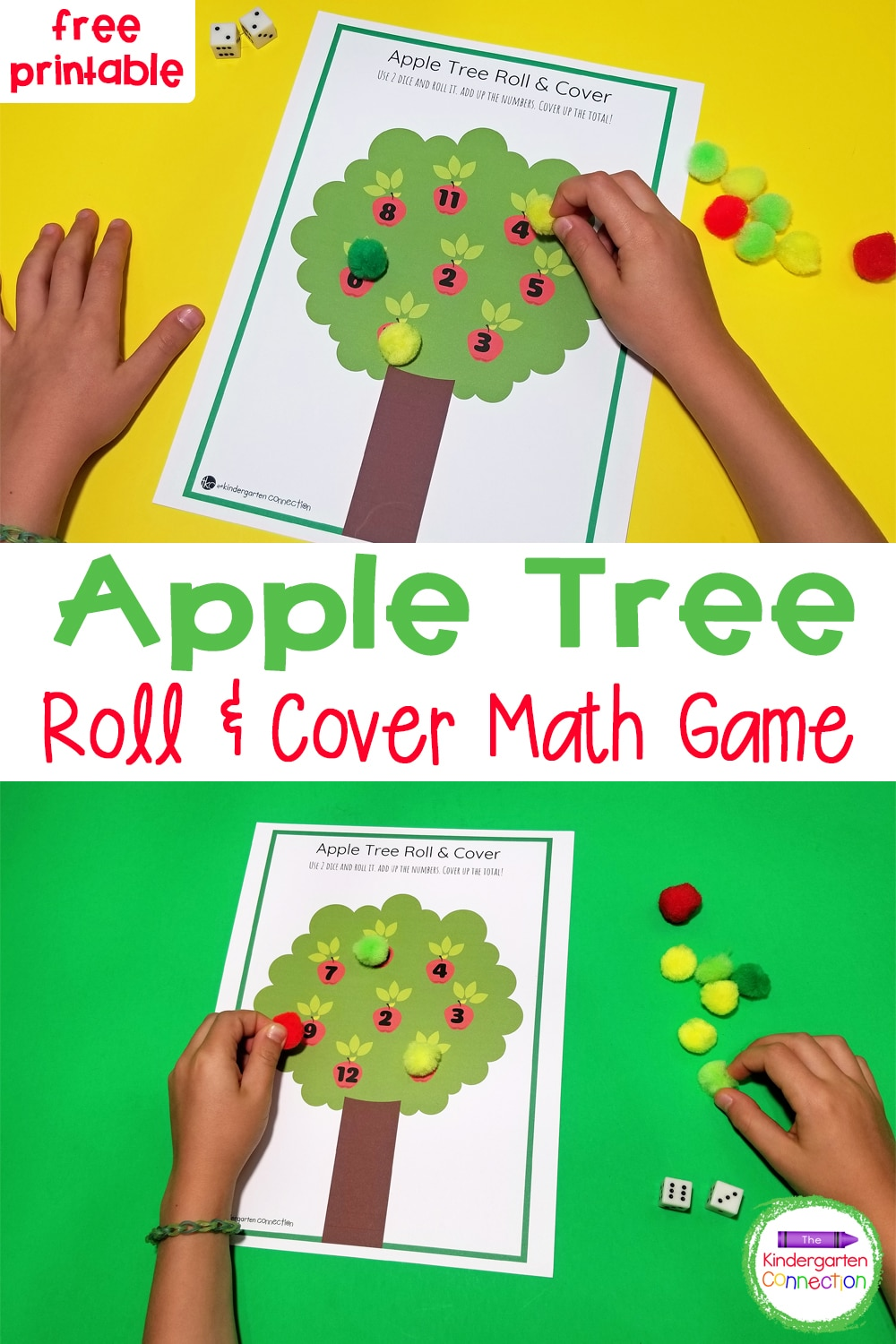 This free Apple Tree Roll and Cover Math Game for Kindergarten is perfect for strengthening counting and addition skills in a fun way!