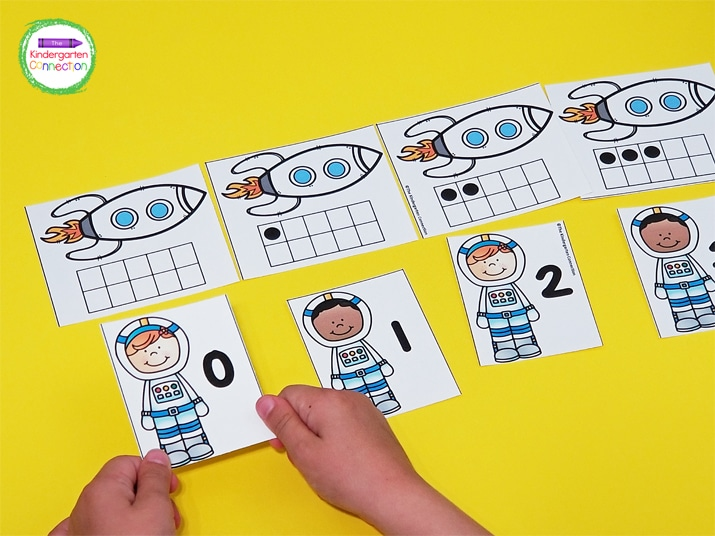 """This matching game includes """"rockets"""" with ten frames from 0-10 and """"astronauts"""" with numbers from 0-10."""
