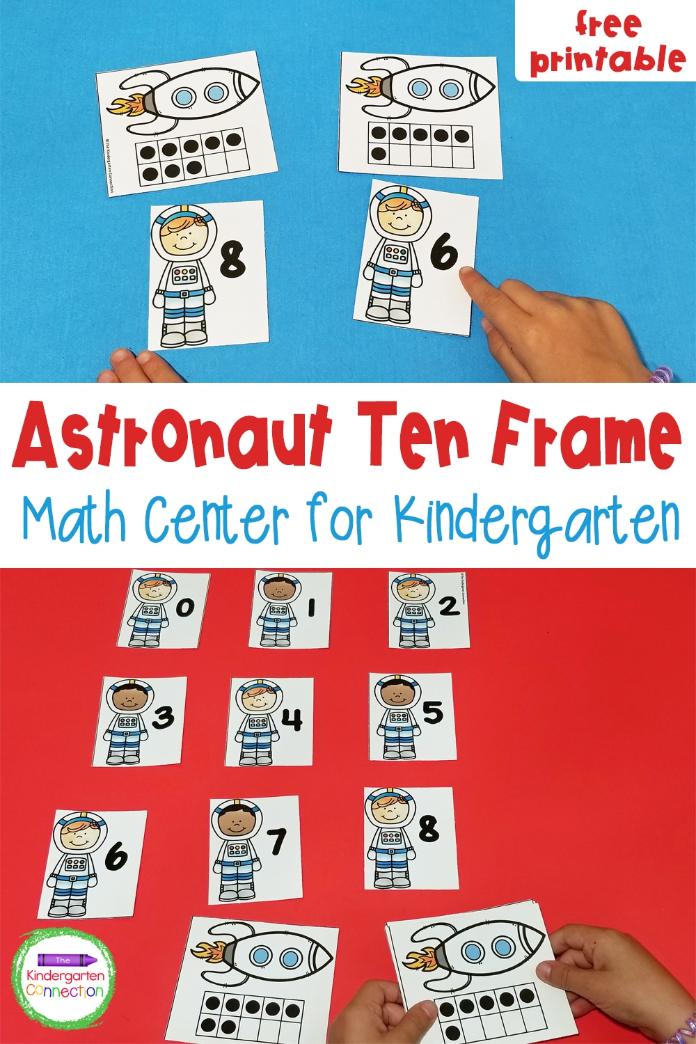 Explore numbers and ten frames with this fun and free Astronaut Ten Frame Matching Game! Perfect for Pre-K & Kindergarten math centers!