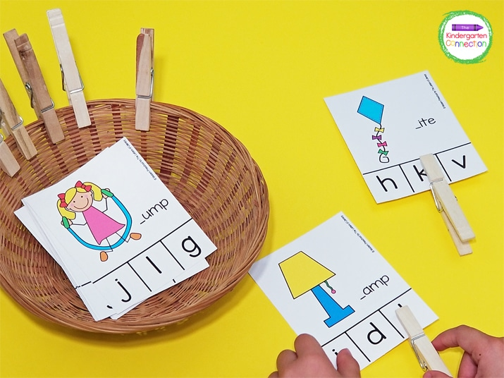 I use small baskets in my classroom for clip card activities. I divide them up into different baskets for multiple kids to play at once.