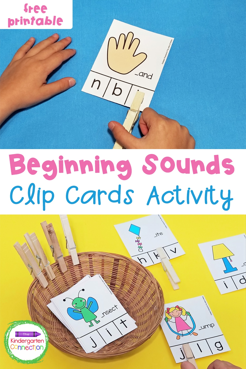 These free Beginning Sounds Clip Cards for Pre-K & Kindergarten will help practice letter recognition and sounds in a fun and engaging way!