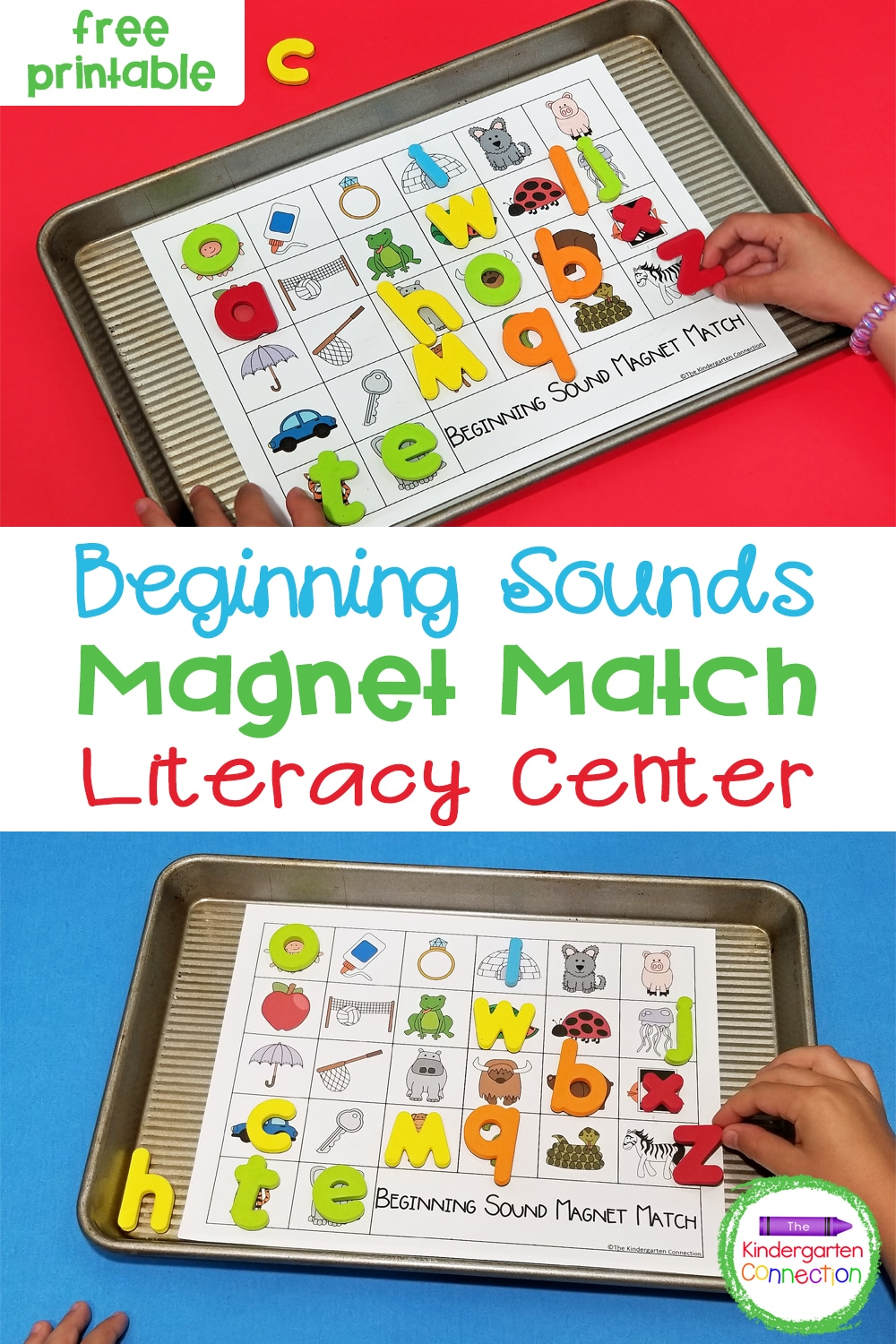 Work on letters and sounds with this super fun and free Alphabet Magnets Beginning Sound Match for Pre-K & Kindergarten!