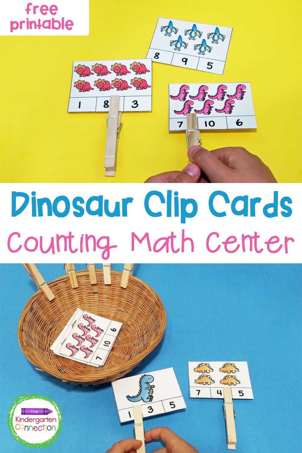 Work on counting, number recognition, and reading numbers with these fun and free Dinosaur Counting Cards for Pre-K & Kindergarten!