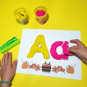 Fall Leaves Alphabet Play Dough Mats