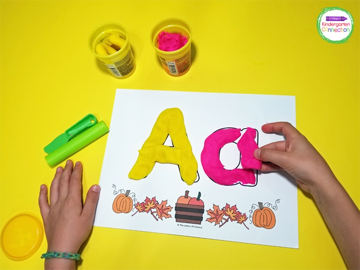These play dough mats strengthen fine motor skills as students use the play dough to form the letters.