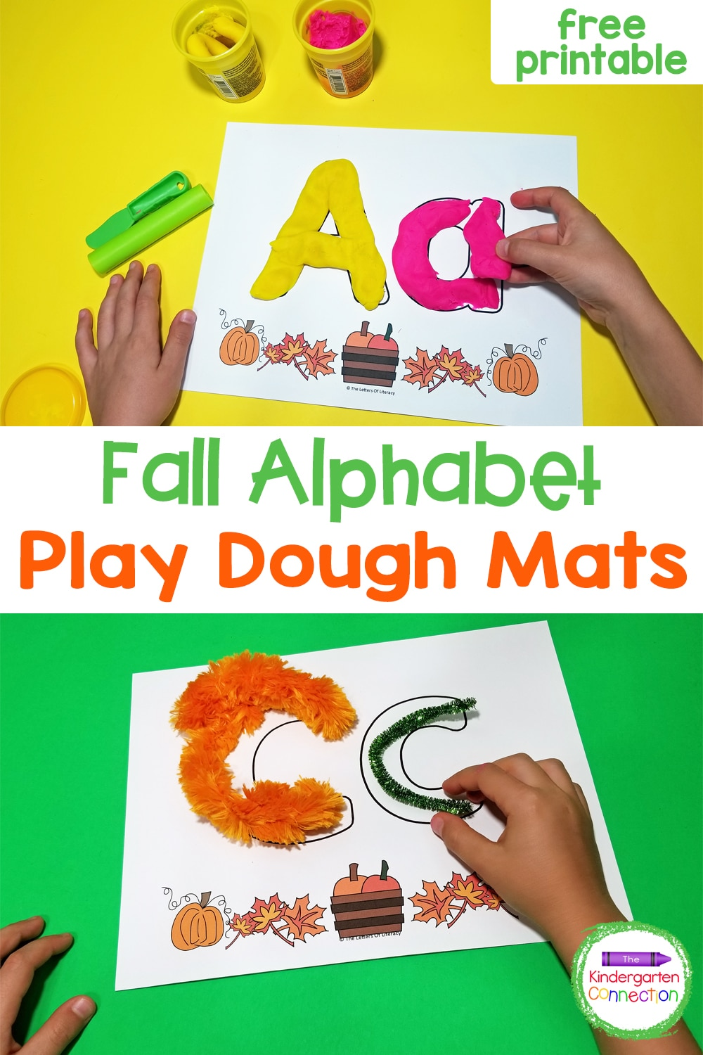 """You're going to """"fall"""" for all the ways to use these free Fall Alphabet Play Dough Mats! Your kids will love the hands-on learning fun!"""