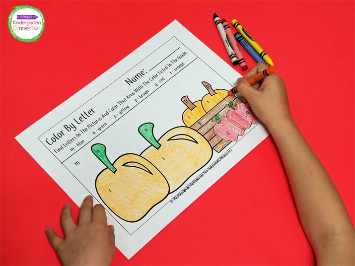 This color by letter printable set is focused on fall colors (brown, orange, yellow, red, blue, and black).