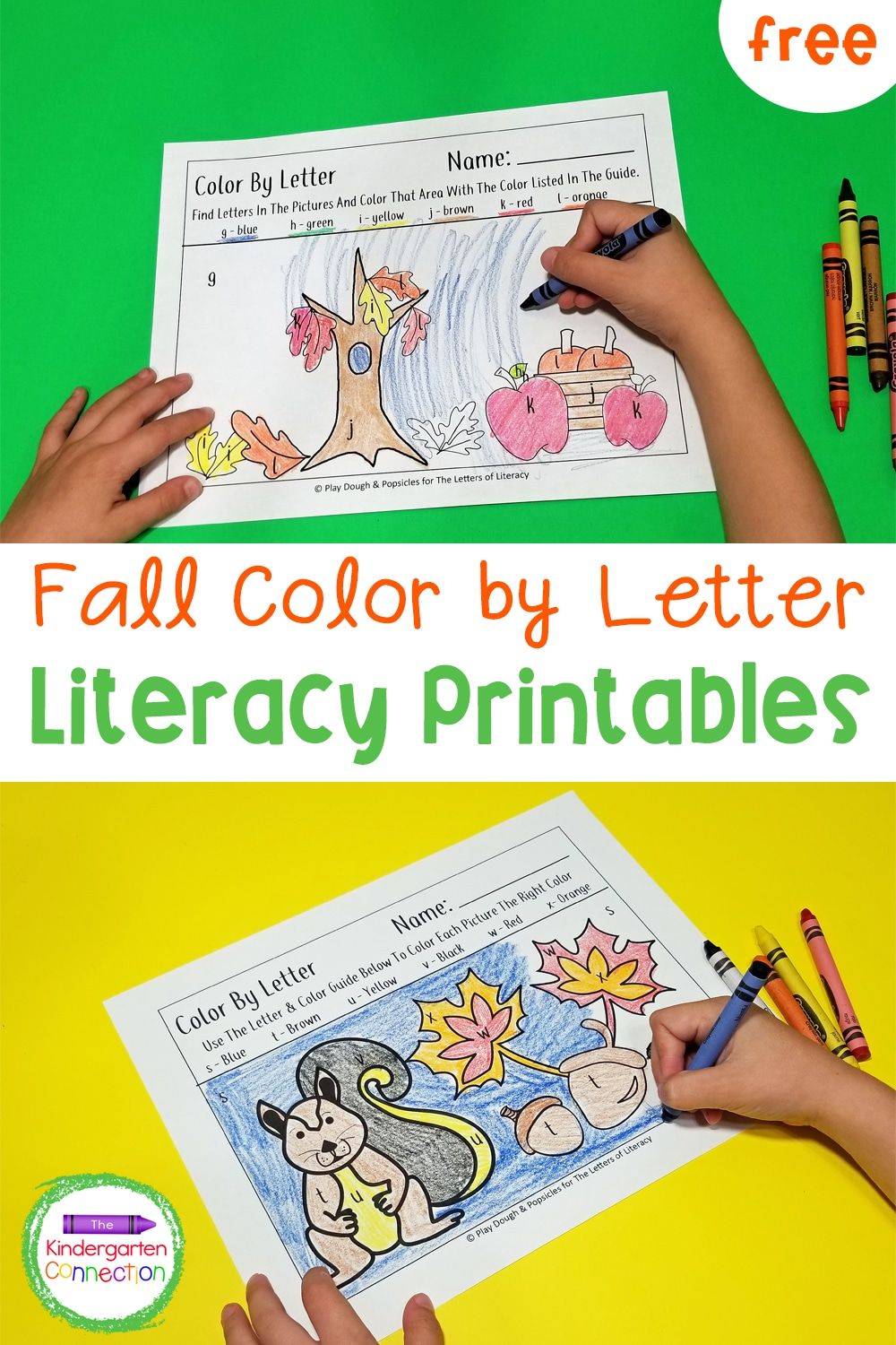 Enjoy practicing the alphabet with these free Fall Color by Letter printables! Grow alphabet recognition and celebrate autumn together!