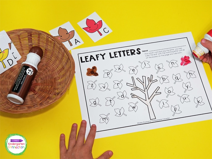 To encourage more hesitant learners, use a bingo dotter instead of a crayon to color the leaves as they are matched!