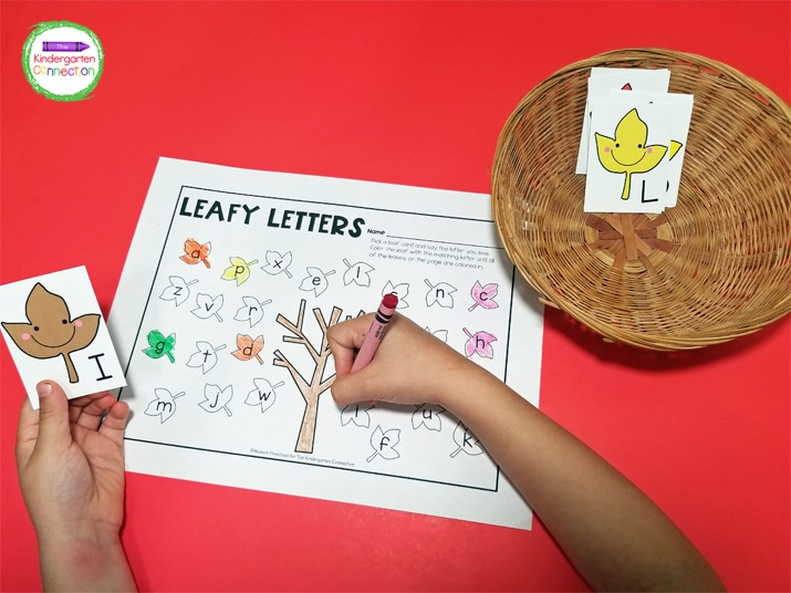 This free printable letter matching set includes 26 uppercase leaf cards and a recording sheet.