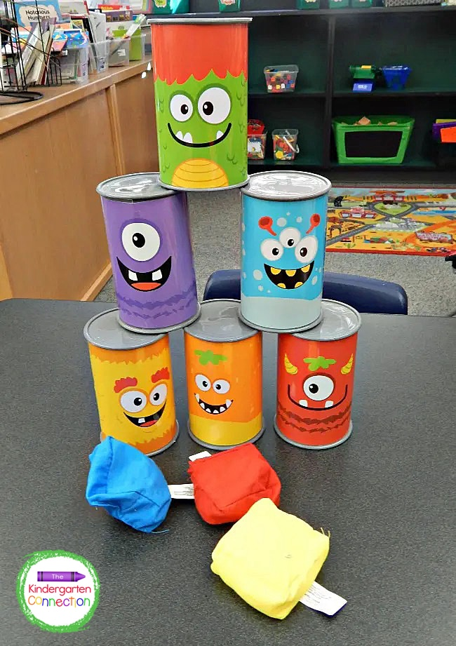 This Monster Bean Bag Game is active and gets kids moving as they take turns trying to knock down all the cans in one throw!
