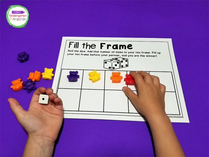 For this game, simply roll the dice and add that number of items to your frame. If you get to 10 before your partner, you win!