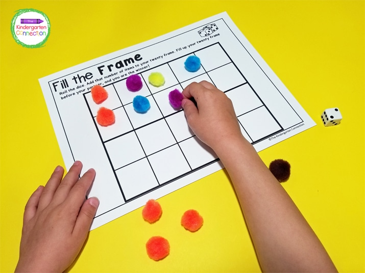 In the 20 frame game we used our favorite colored pom poms. They were the perfect size!