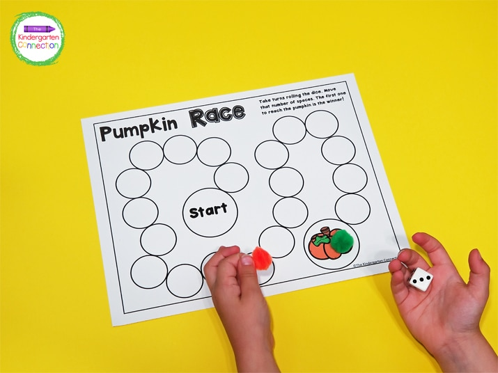 In Pumpkin Race, you take turns rolling the dice and moving your marker to see who gets to the pumpkin first!