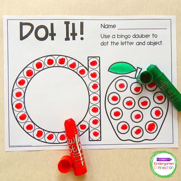 Kwik Stix are also great for literacy centers like our Dot It! letter activity.