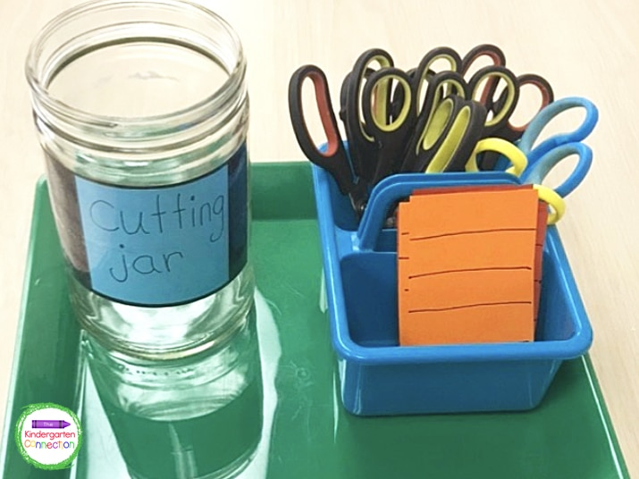 In my class, students begin the day by cutting strips of paper and placing them in our cutting jar.