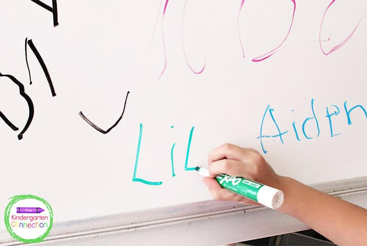 Students immediately check in and write their names on a white board when they arrive.