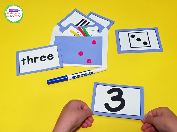 For this number sense activity, the idea is to have unmarked envelopes and add all the items foreach specific number into an individual envelope.