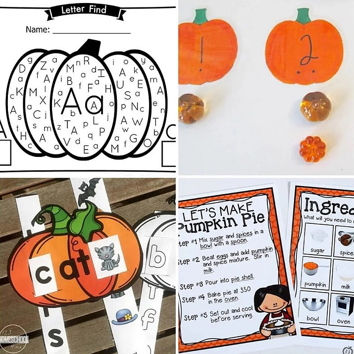 This list of pumpkin activities covers both math and literacy skills for kids.