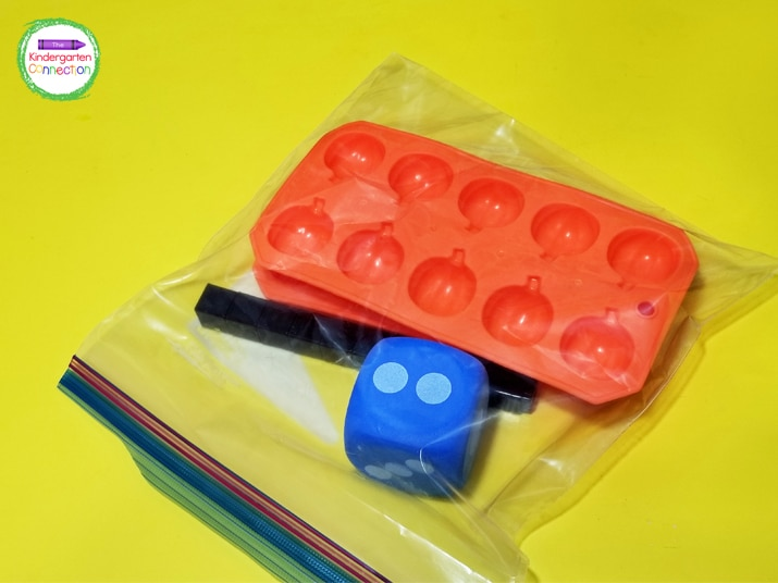 Place all the supplies in a zip top bag for a quick grab and go ten frame math game!