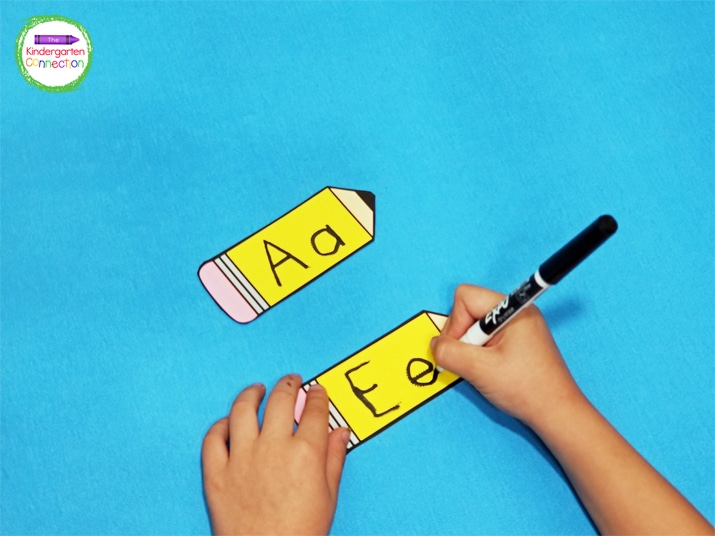 To prep this alphabet writing activity, simply print, cut apart, and laminate the pencilsso that the activity is reusable.