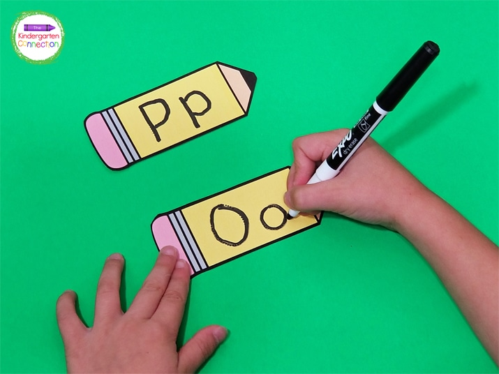 To write on the laminated pencils, use dry erase markers.